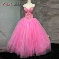 Sweetheart Beaded Pink Ball Gown Quinceanera Dresses 2017 Tulle Floor Length Sleeveless Puffy Long Prom Dress