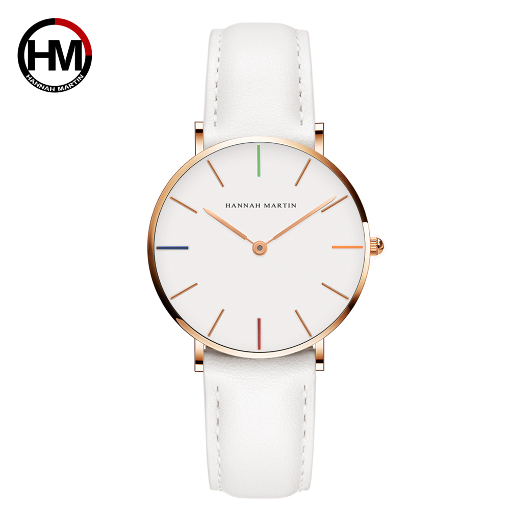 Hannah Martin 36mm Leather Strap Analog Display Women Dress Watch Fashion Casual Quartz Watch Women Wristwatch relogio feminino fashion watches relogio feminino hot montre women s casual quartz leather band new strap watch analog wrist watch wristwatch