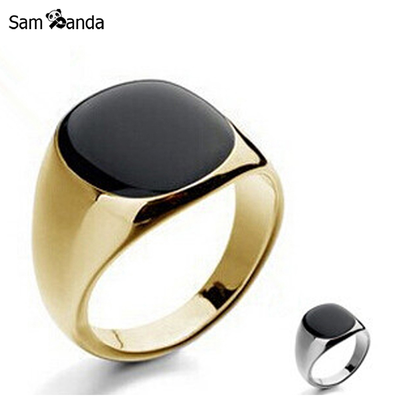 New Size 7-12 Vintage Men Jewelry Stainless Steel Ring Fashion Minimalist Design Plated Gold Black Enamel Mens Rings sa779
