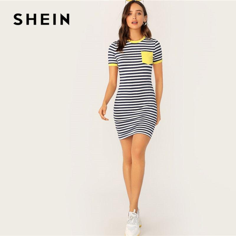 Платье-футболка Шеин с карманами и полосками, повседневное женское платье с коротким рукавом и круглым вырезом, облегающее летнее платье