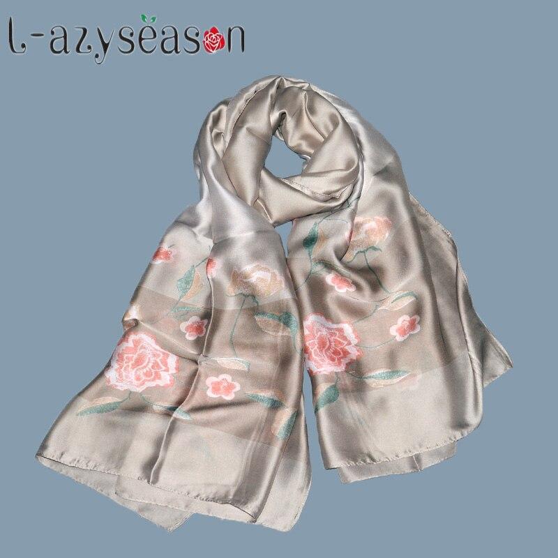 2018 New Design Luxury Brand Silk Summer Scarf Women Hijab Shawl Long Fashion Soft Flower Print Scarves Wraps Hot Sale 180X90 CM