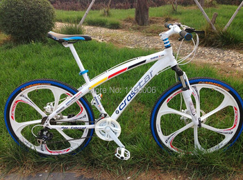 Hot sale 26 inch 21 speed white rainbow mountain bike road bikes double disc brake MTB bicycle