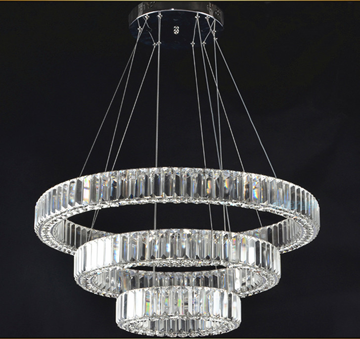 Europe Luxury LED Chandelier de crystial Personality Round Circle Crystal Lighting Pendant Fixture