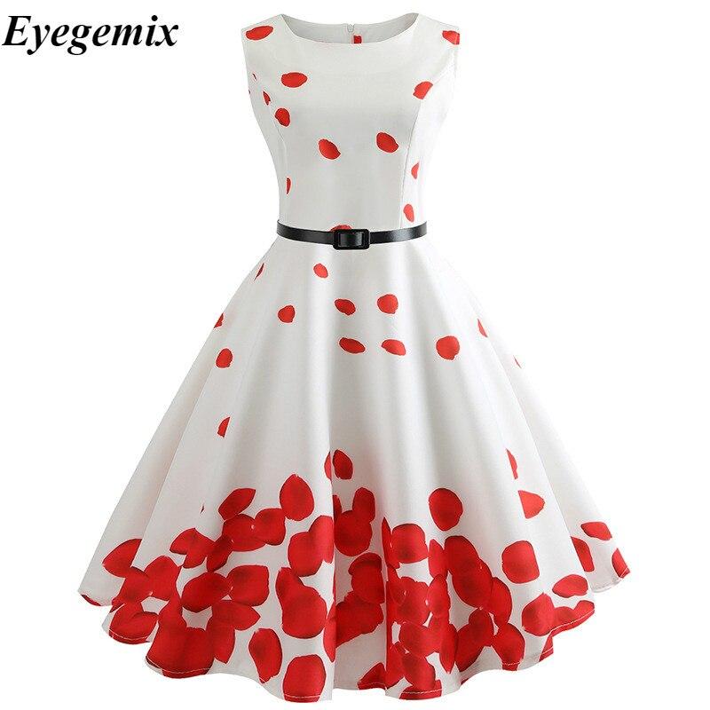Women's Clothing 2019 Floral Print Women Summer Dress Hepburn Retro Big Swing Vintage Dress Ball Gown Party Dresses With Belt Jurken Vestidos