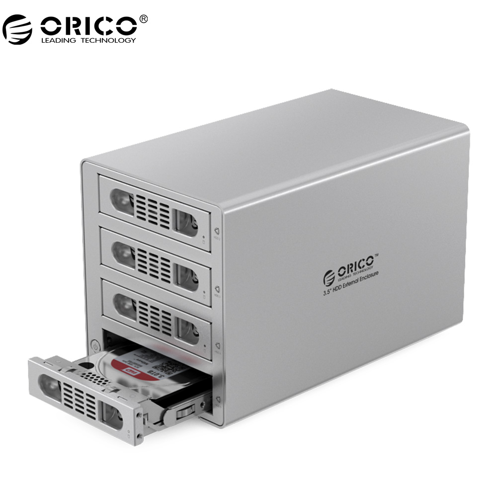ORICO Aluminum 4 bay 3.5 inch SATA Drive Enclosure SuperSpeed USB3.0 5Gbps With Lock and Fan-Silver orico 9528u3 2 bay usb3 0 sata hdd hard drive disk enclosure 5gbps superspeed aluminum 3 5 case external box tool free storage