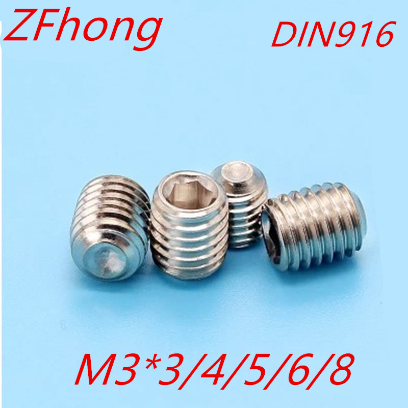 50PCS M3*3/4/5/6/8 DIN916 Stainless Steel Allen Head cup point Hex Socket Set Screw Grub Screw 250pcs set m3 5 6 8 10 12 14 16 20 25mm hex socket head cap screw stainless steel m3 screw accessories kit sample box