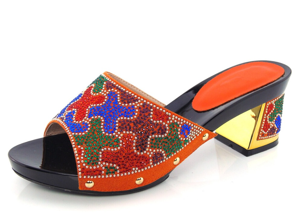 ФОТО orange Newest Style African High Heels Upscale Shoes Woman High Heels African Sandals Shoes  HX1-21