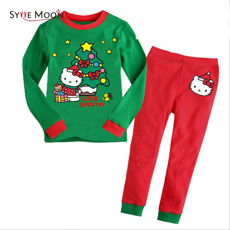 2018 Christmas Autumn Winter Kids Pajamas Sets Girls Hello Kitty Print Sleepwear Children Cotton Clothes Sets Baby Home Wear