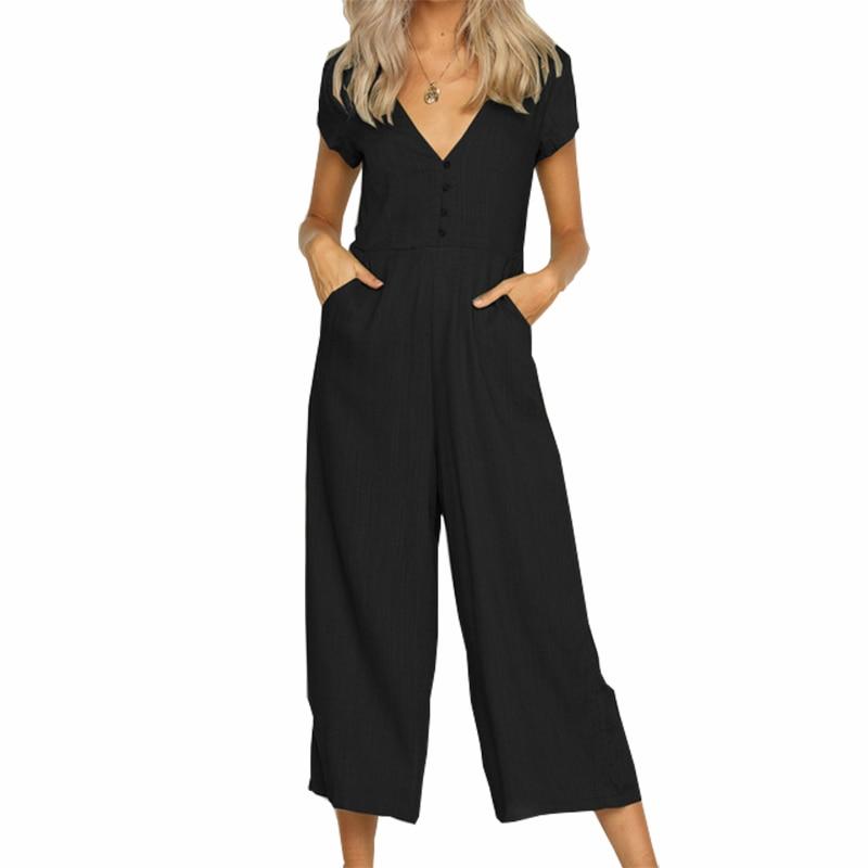 Buttons Wide Leg Pants Rompers Calf-Length Pockets Women Short Sleeve V-neck Jumpsuits Femme Summer Overalls Plus Size GV263