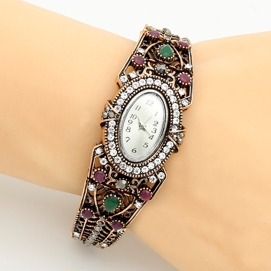 Vintage Turkish Wrist Watch Bangle Jewelry Women Round Flower Quartz Watch Bracelet Antique Color Adjust Size Aegean Sea Cuff