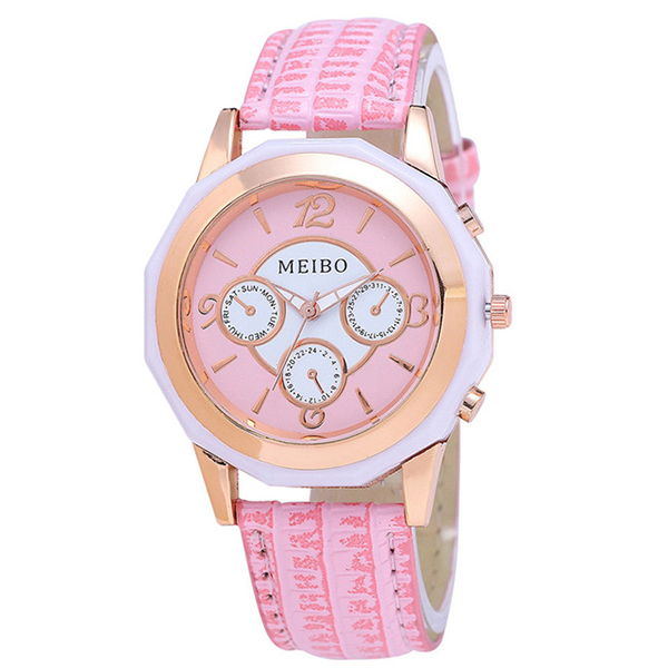 MEIBO women Fashion leather Analog quartz-watch hour clock female watchWrist watches Gift pink цена и фото
