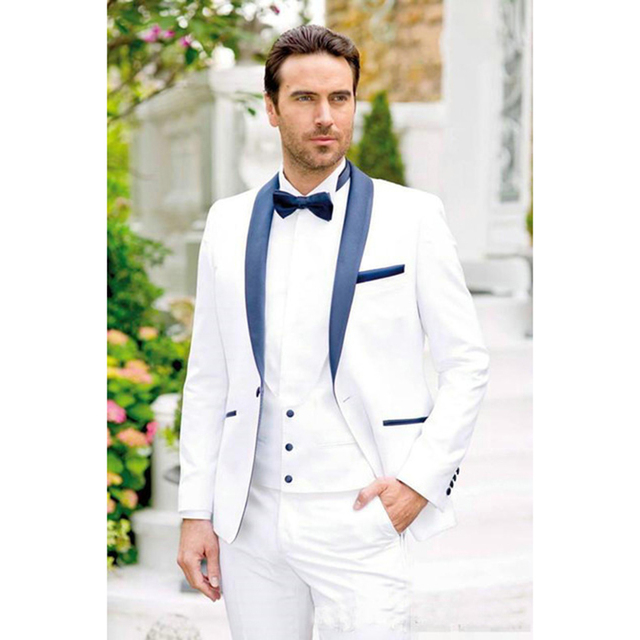 2018 New white Groom Tuxedos navy blue Shawl Lapel Mens Suit Groomsman Man Wedding  Prom Suits Bridegroom jacket+Pants+Vest 55c37cb06c95