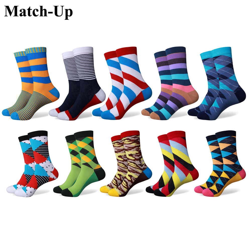 Match Up Men s Funny Colorful Combed Cotton Socks Argyle Casual Dress Wedding Socks 10 Pairs
