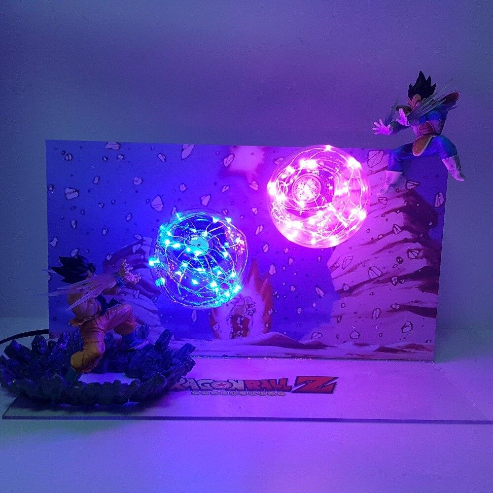Dragon Ball Z Son Goku Kamehameha VS Vegeta Galick Gun DIY LED Ensemble figuras dragon ball lampara figurine dragonball Action figure