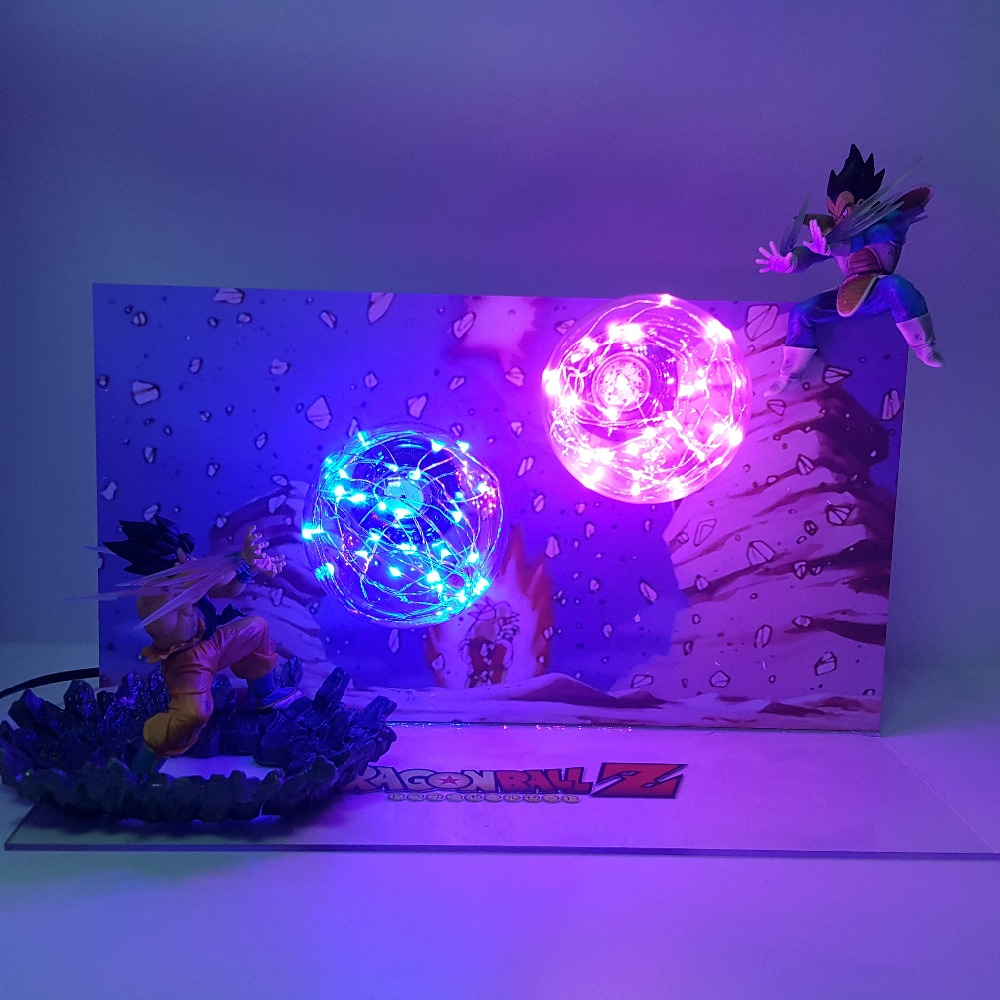 Dragon Ball Z Son Goku Kamehameha VS Vegeta Galick Gun DIY LED Ensemble figuras dragon ball lampara figurine dragonball Action figure