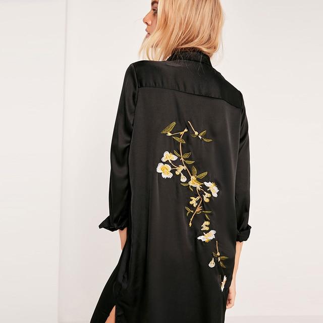 HDY Haoduoyi Black Women Dress Long Sleeve Turn-down Collar Split Side Straigh Dress Women Embroidery Loose Casual Dress