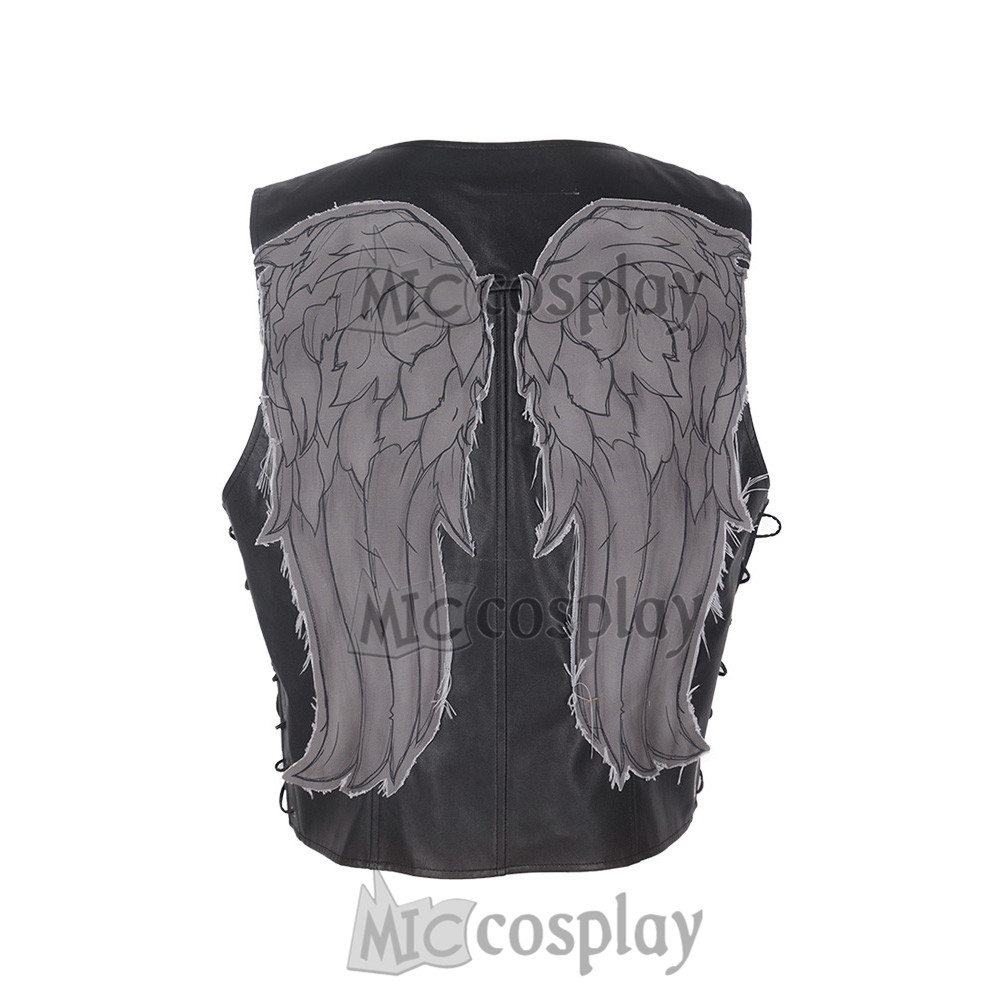 Daryl Dixon Angel Wings Angel Of Death Cosplay Jacket Leather Black Vest Costume