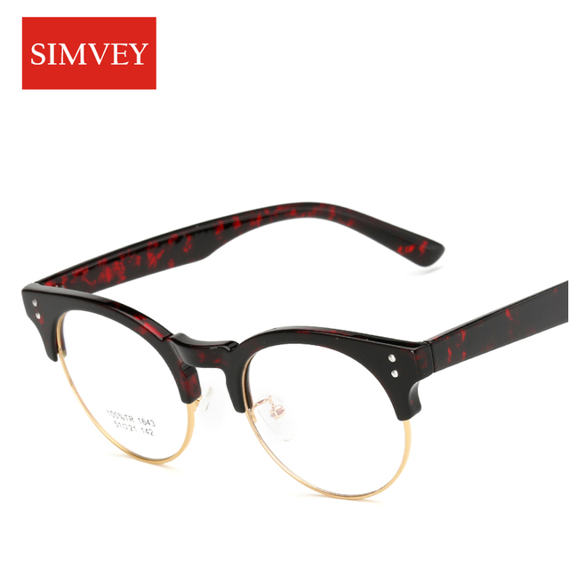 6c858e79f9 SIMVEY 2017 Korean Clear Fashion Optical Glasses Women Retro Brand Designer  Half Frame Clear Lens Glasses Eyeglass Frames
