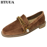 HTUUA Autumn Winter Bee Flat Shoes Women Casual Shoes High Quality Warm Plush Rabbit Fur Shoes Espadrilles Loafers SX1755