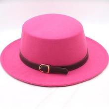 BINGYUANHAOXUAN Women Wool Blend Boater Hat Sailor Flat Top Bowler Cap Belt Buckle Band