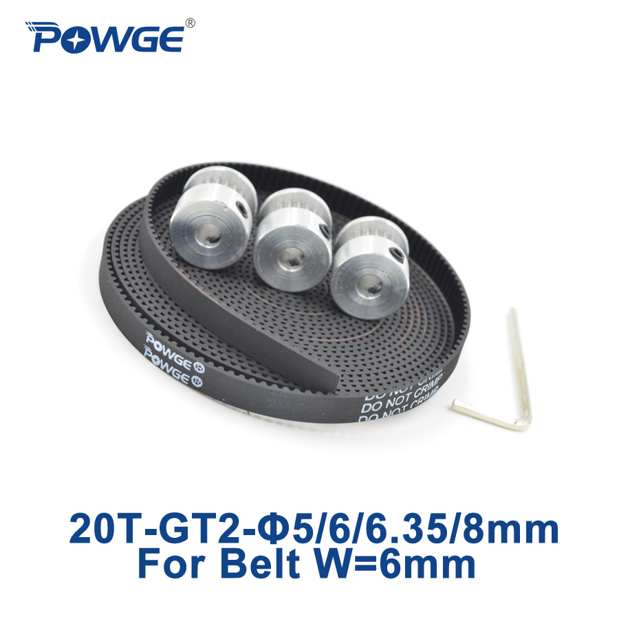 POWGE 3pcs 20 teeth GT2 Pulley Bore 5mm 6mm 6.35mm 8mm + 3Meters GT2 timing Belt width 6mm 2GT belt pulley 3D 20Teeth 20T powge 8pcs 20 teeth gt2 timing pulley bore 5mm 6mm 6 35mm 8mm 5meters width 6mm gt2 synchronous 2gt belt 2gt 20teeth 20t