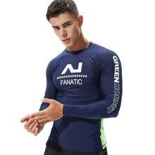 УФ-защиты Топ для серфинга Для мужчин одежда для плавания с длинным рукавом Купальник Для мужчин s Рашгард для серфинга рубашка для плавания парусный спорт Подводные гидрокостюмы
