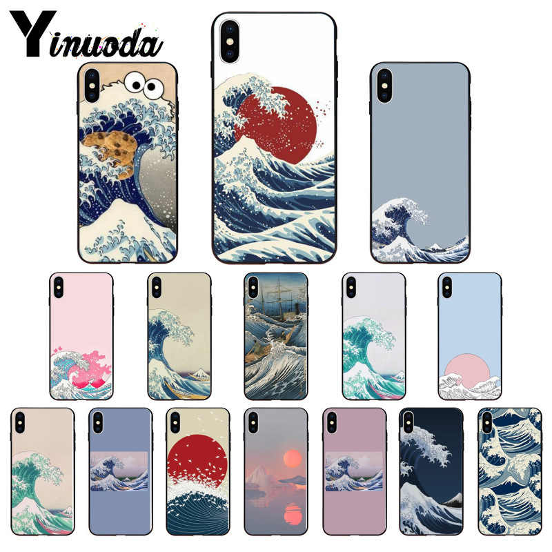 Yinuoda Wave Art Japanese Green Illust Classic DIY Luxury High-end phone Case for Apple iPhone 8 7 6 6S Plus X XS MAX 5 5S SE XR