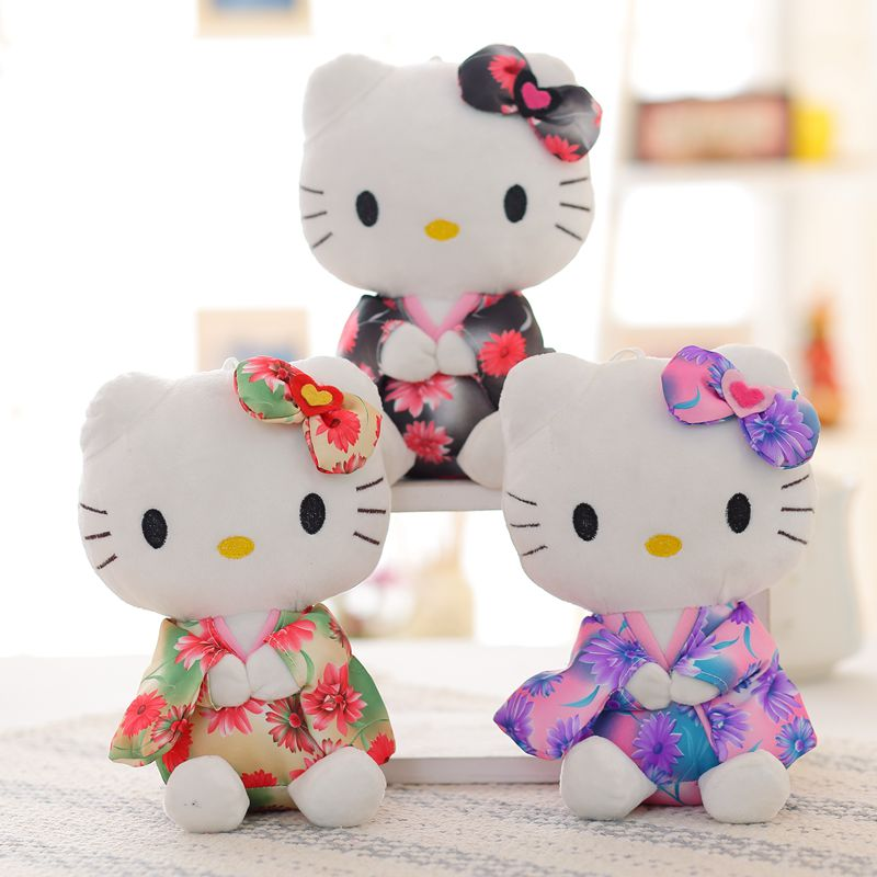 1pcs 20cm Kawai Japanese kimono hello kitty plush toys High-quality Stuffed dolls for girls kids toys gift fruit hello kitty cat plush toys dolls 1pcs 8 20cm for children s gift home decoration free shipping