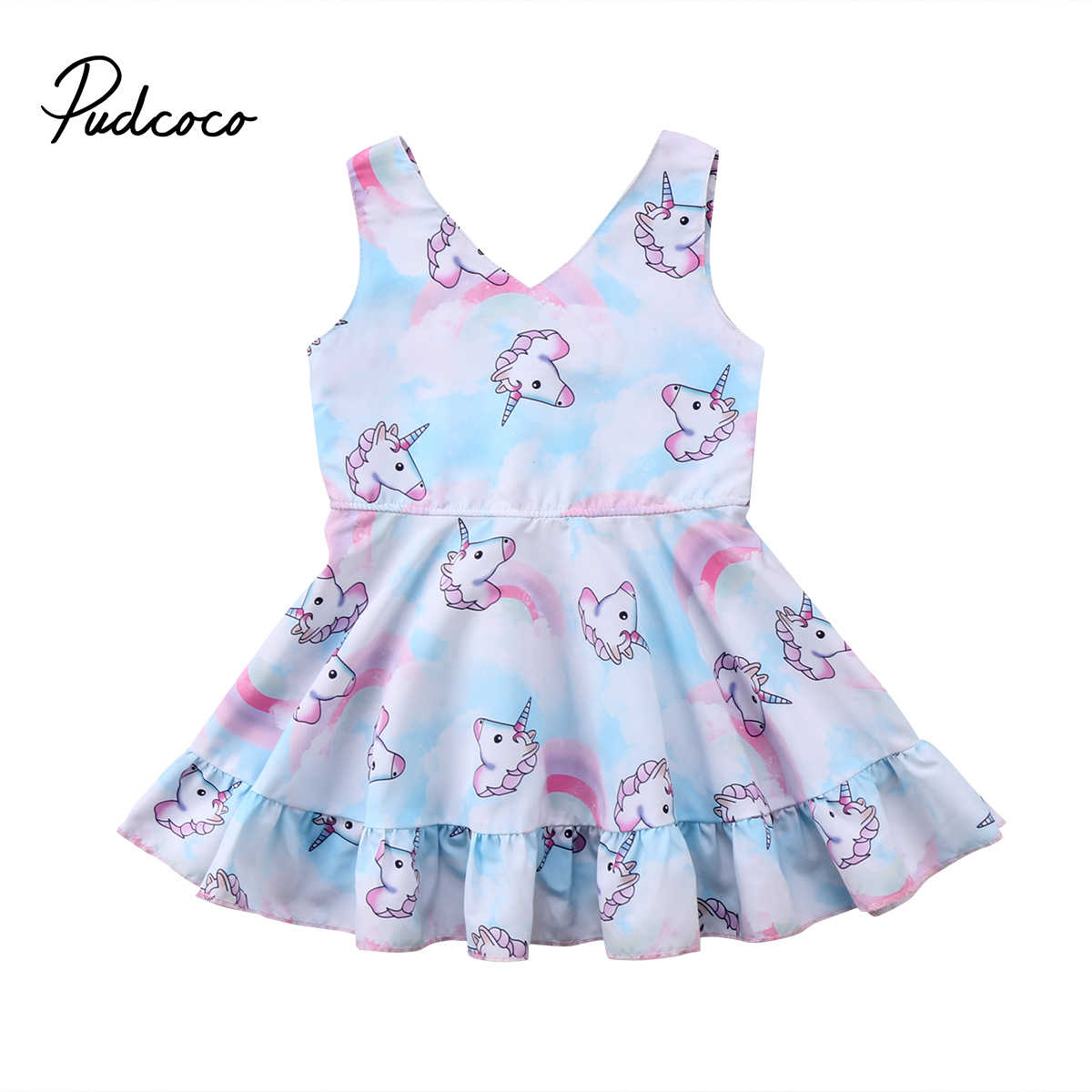840ae2fea3e 2018 Фирменная Новинка Лето Малыш младенцу Платье принцессы для маленьких  девочек вечерние Единорог одежда без рукавов