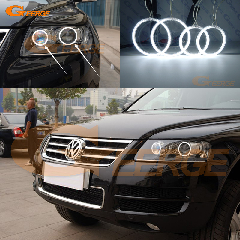 Для Volkswagen VW туарег 2004 2005 2006 2007 Ксеноновые фары отлично ангел глаза комплект Ультра-яркое освещение CCFL Ангел глаз
