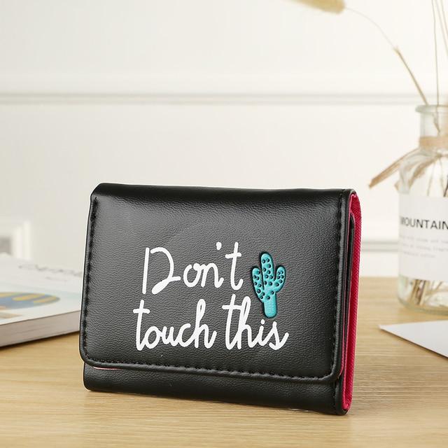 BOTUSI Carton Cactus court femmes portefeuilles Mini argent sacs à main pli sacs en cuir PU femme porte-monnaie porte-carte petite pochette