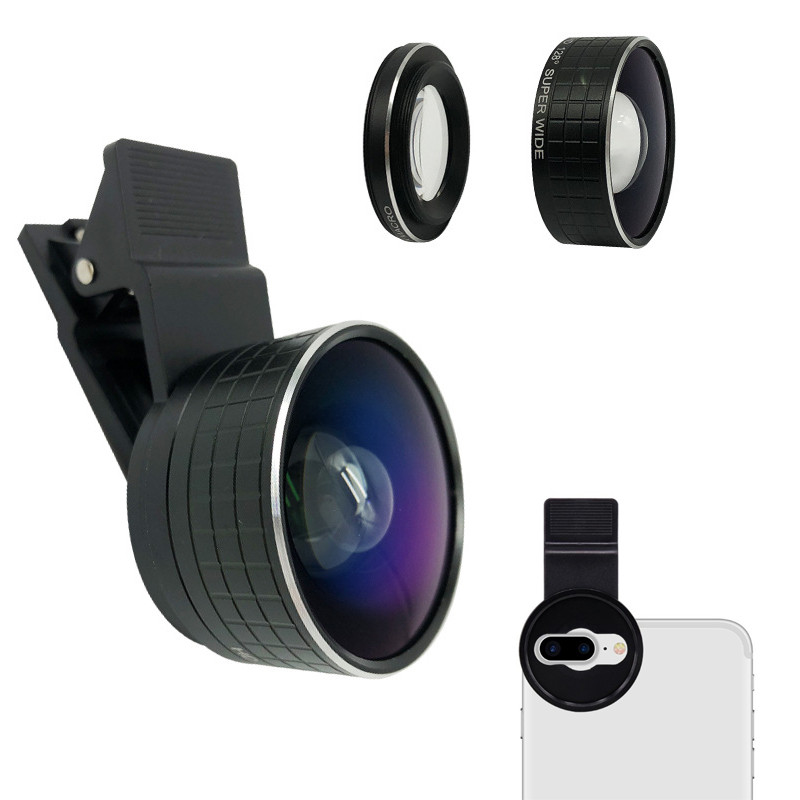 Mobile Phone Dual Camera Lens <font><b>2</b></font> In <font><b>1</b></font> 20X Macro Mobile Lentes HD <font><b>128</b></font> Degree Super Wide Angle Lens For iPhone Android Smartphones image