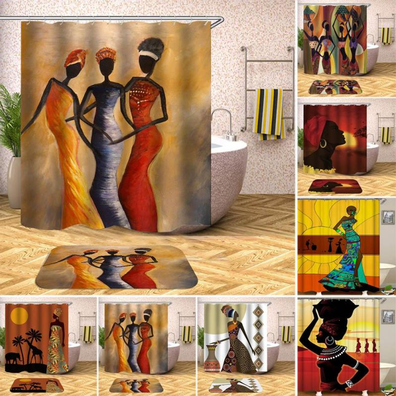 Africa Beauty Women Pattern Shower Curtain With Hanging Hooks Blind For The Bathroom Bat ...