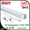 new 1200mm 18W t8 led tubes integrated without fixture AC85-265V free shipping