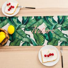 INS Nordic Green Leaf Print Cotton linen Palm table runner Monstera Table Cloth Runner Placenmat