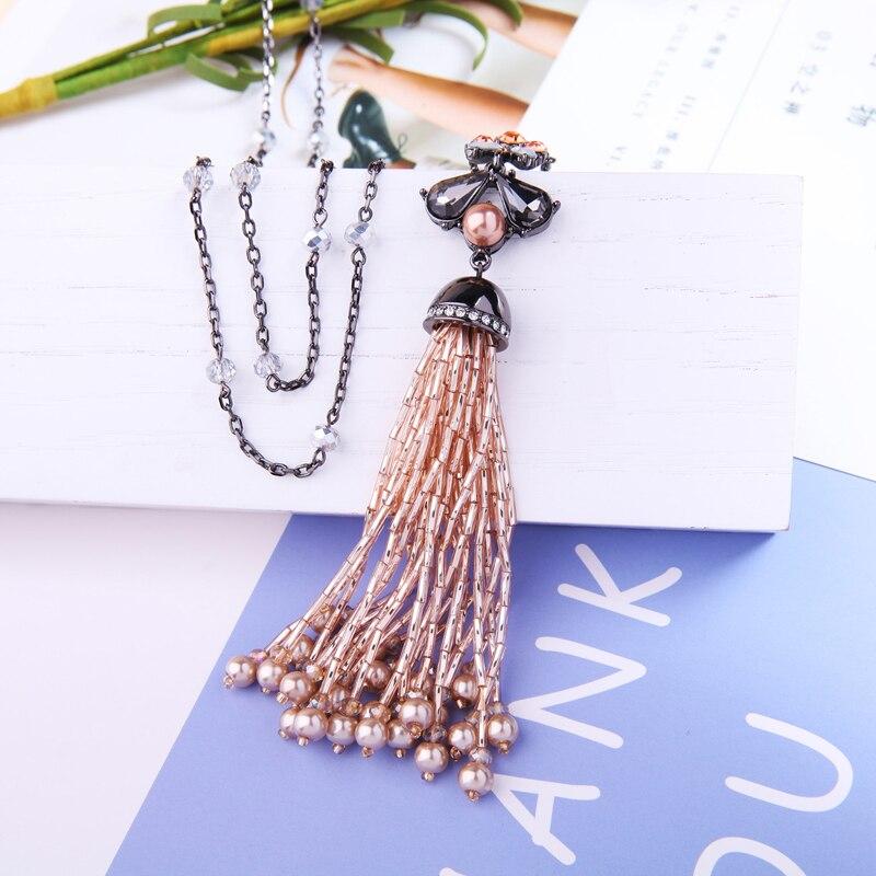 a49615578a18 Cheap KISS ME Chic acrílico cuentas suéter cadena collar largo 2018 nueva imitación  perla colgante collar