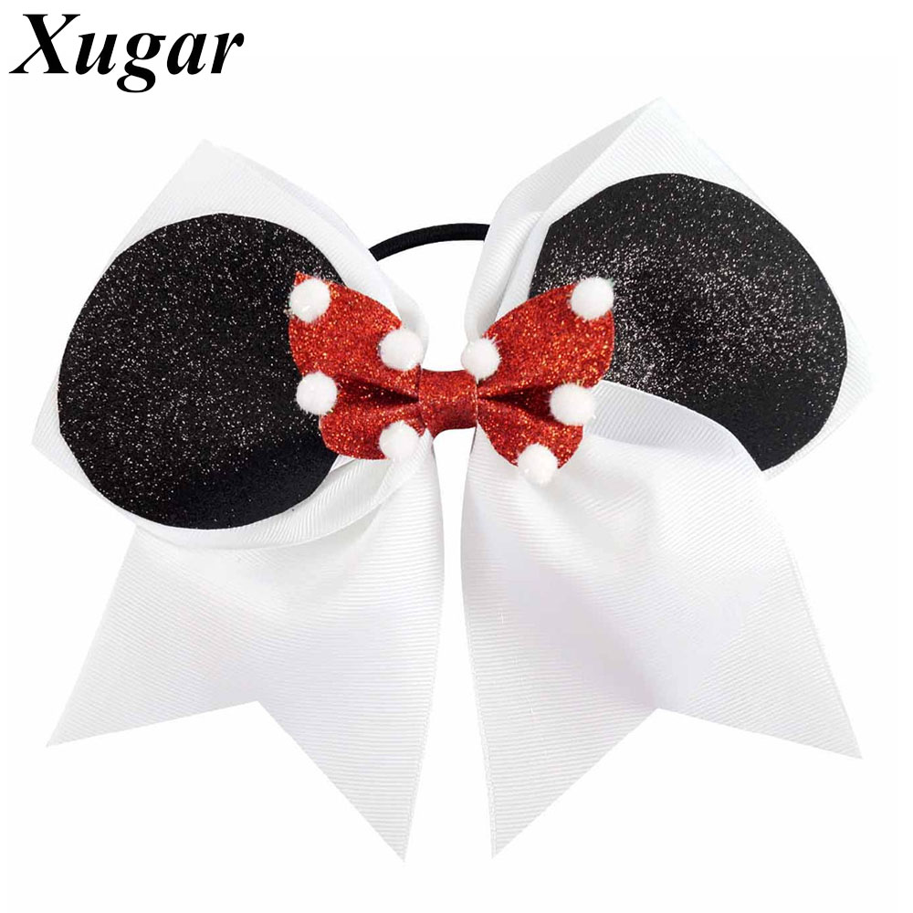"""New Arrival 7"""" Large Cute Printed Ribbon Cheer Bow For Ponytail Girls Cheerleading Hair Bow ..."""