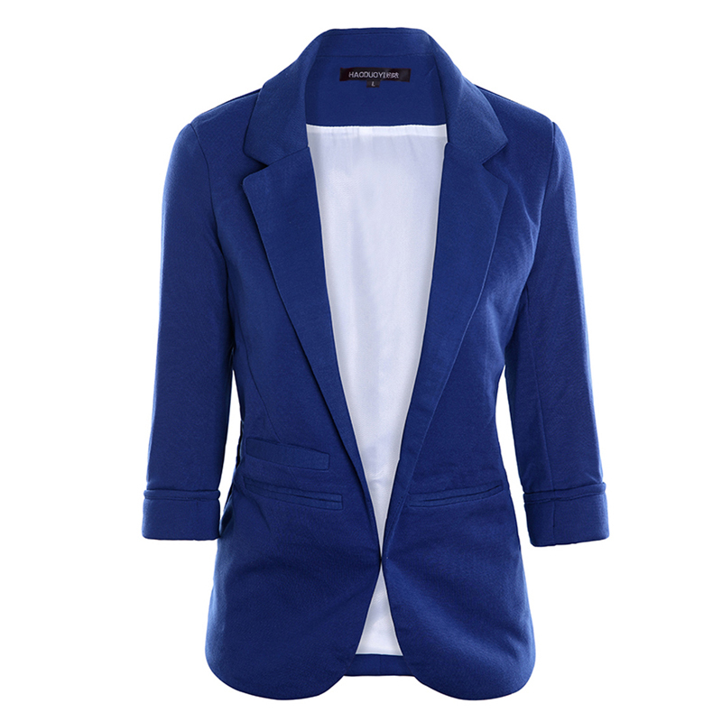 Women Formal Jackets Office Work Open Front Notched Ladies Blazer Coat  1