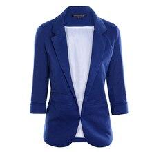 2018 Spring Slim Fit Blazer Women Formal Jackets Office Work Open Front Notched Blazer Black Ladies Blazer