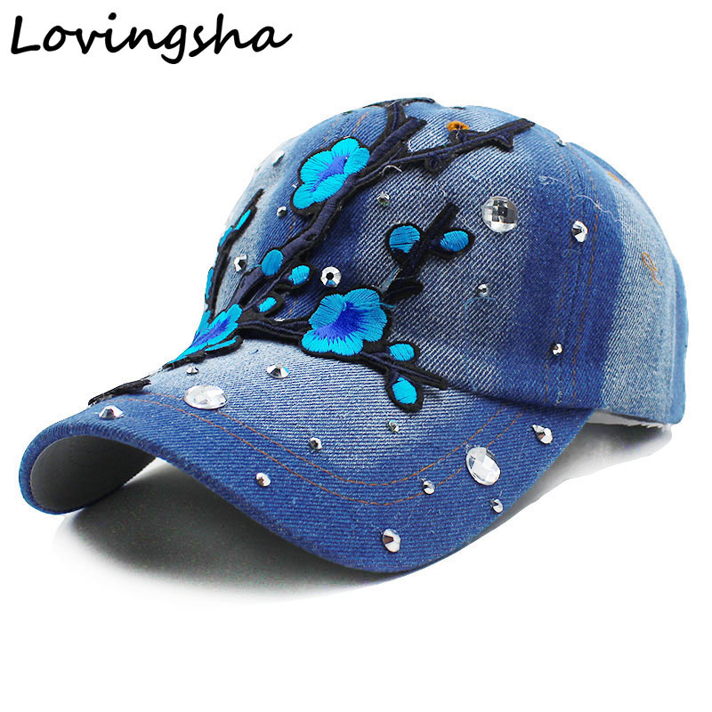 Lovingsha Floral Baseball Cap Snapback Summer Cap Spring Fitted Cap Women Wholesale Rhinestones Cap For Girl Cheap Hat wholesale spring cotton cap baseball cap snapback hat summer cap hip hop fitted cap hats for men women grinding multicolor