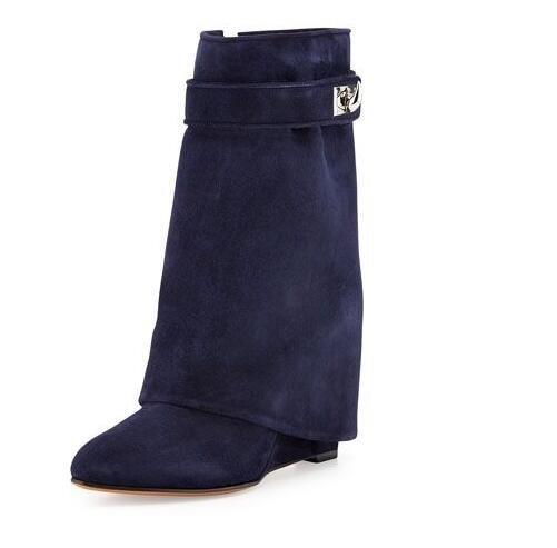 2018 Spring Hot Women Lock Buckles Mid-Calf Boots Suede Leather Sexy Pointy Toe Ladies Height Increasing Knight Boots Size 42 2018 new suede leather patchwork women flodover mid calf boots sexy pointy toe ladies blade heel boots zipper knight boots