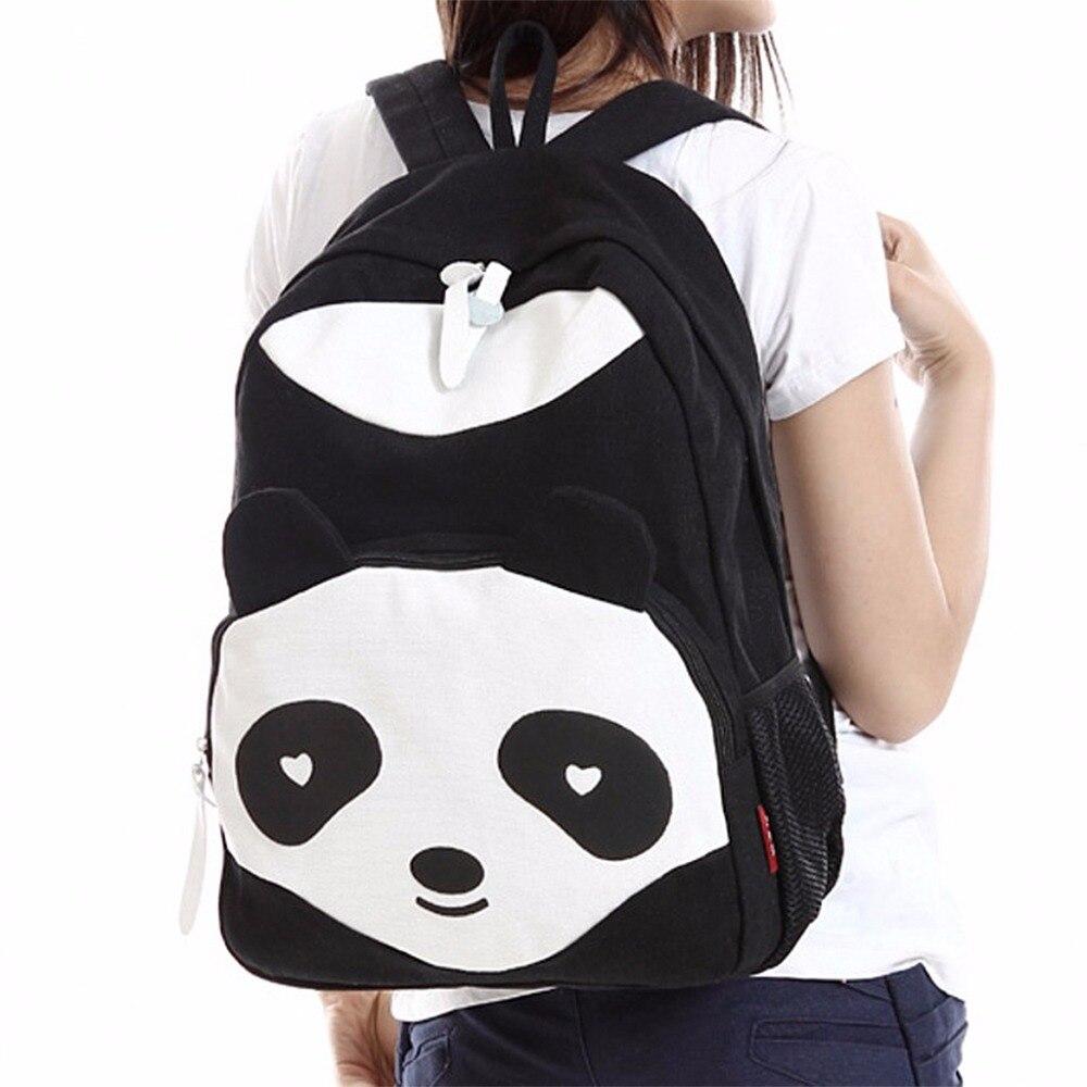 Fashion 3 Color Women Girl Canvas Backpack Cute Panda Rucksack Travel Shoulder School Campus Bag