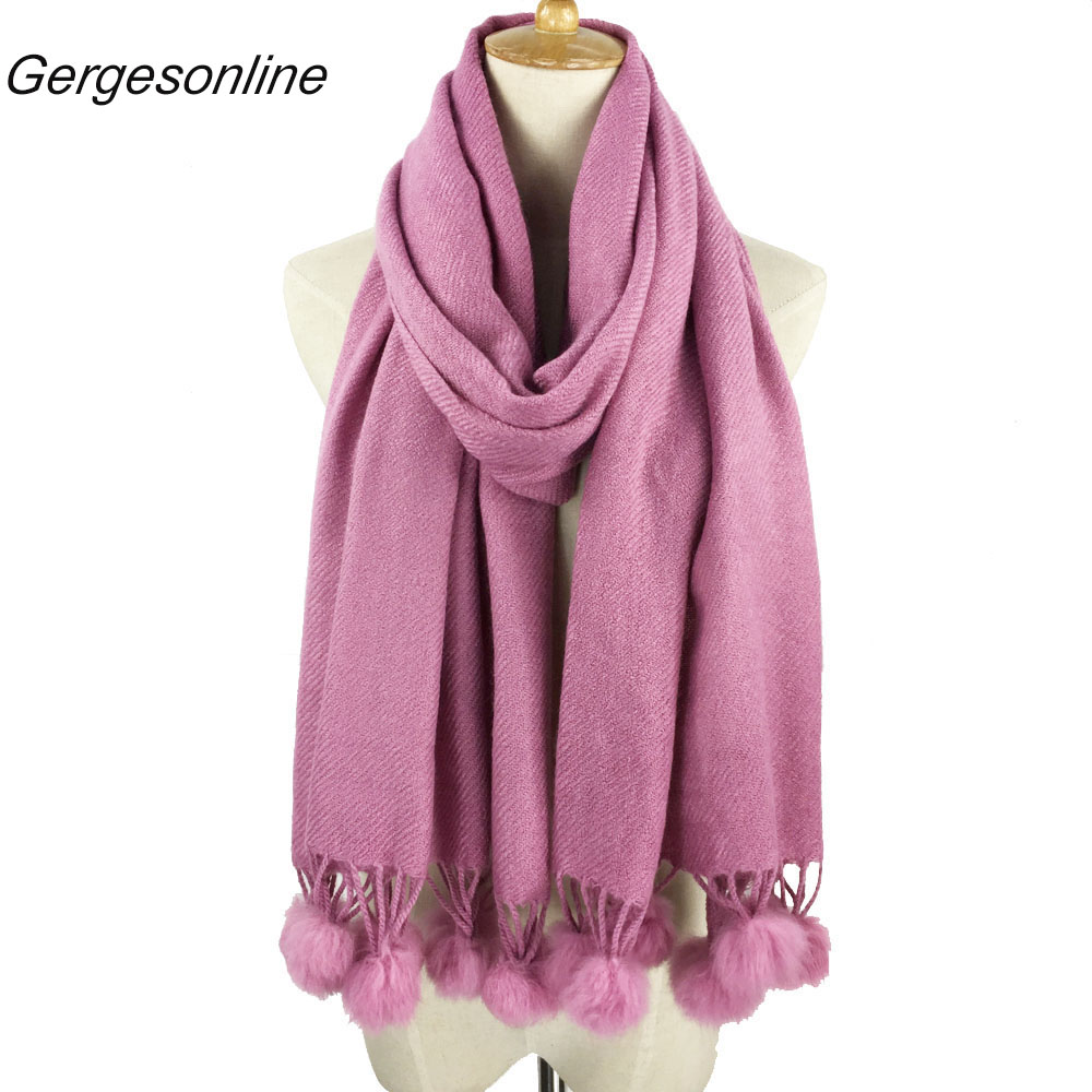 2018 Very popular acrylic plain soft colorful scarf with pompom more than 20 colors womens and girls warm scarfs