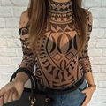 Fashion Autumn 2016 Rompers Womens Jumpsuit Geometric Printed Bodysuit Skinny Vintage Playsuit Long Sleeve Tops