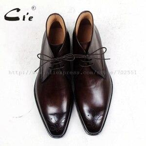 Image 4 - Cie kare ayak madalyon 100% hakiki buzağı deri çizme patina derin kahverengi el yapımı ısmarlama deri bağlama erkek bileğe kadar bot A99