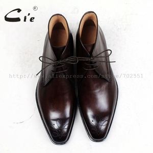 Image 4 - cie square toe medallion 100%genuine calf leather boot patina deep brown handmade bespoke leather lacing mens ankle boot  A99