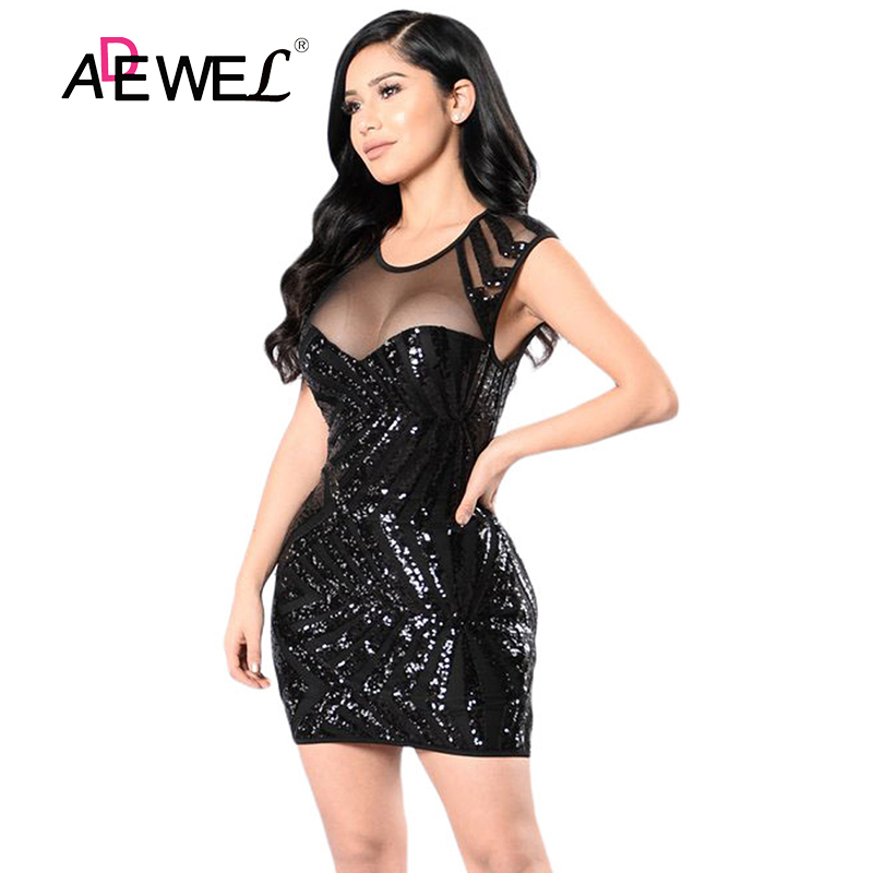 ADEWEL Summer Women Mini Party Sequin <font><b>Dress</b></font> Vintage <font><b>Gold</b></font> Mesh Cutout Night Club Bodycon New Short Sleeve Elegant Lace Vestido image