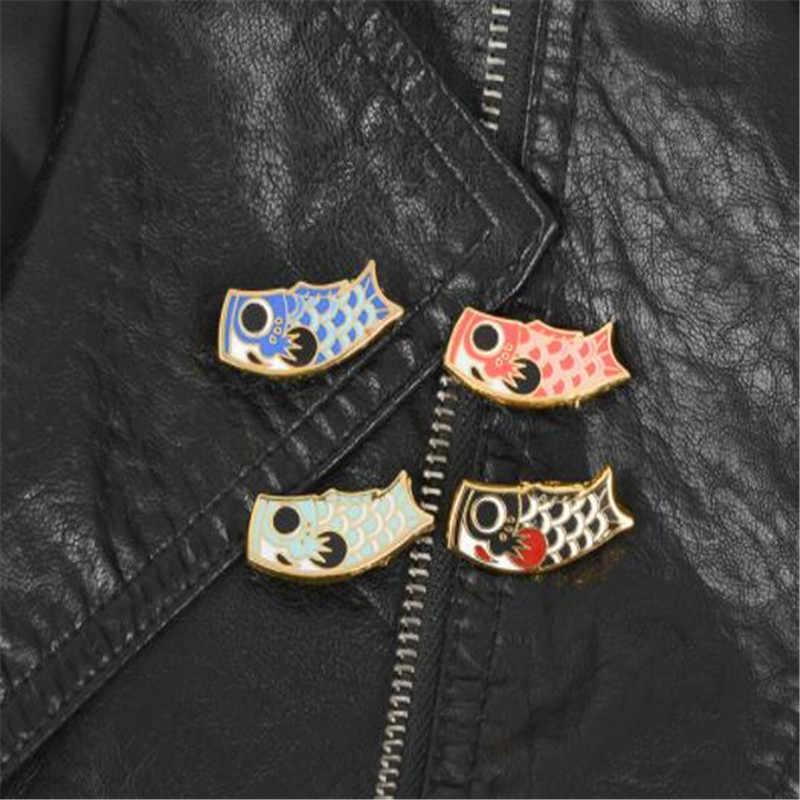 WKOUD مجوهرات Koinobori الأسماك العلم دبابيس اليابانية كوي المينا دبوس دبابيس شارات دبابيس للرجال النساء الثقافة اليابانية مجوهرات