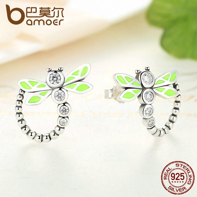 Sterling Silver Vivid Green Dragonfly Animal Drop Earrings
