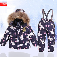 30 Degree 2 6 Years Kids Snowsuit for Girls Real Fur Hoodies Down Coat+Jumpsuit 2017 Winter Warm Toddler Boys Skiing Suits Z100